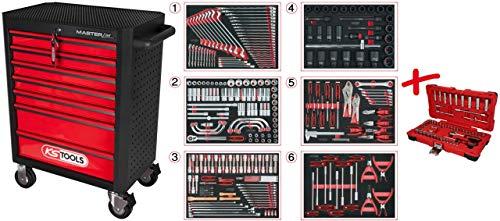 KS Tools 876.7291 MASTERline Werkstattwagen Satz 291tlg m. 7 Schubladen SCHWARZ/ROT + 713.0291