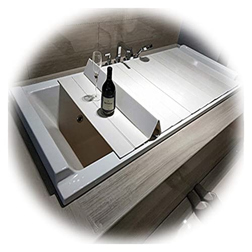 PENGFEI Plegable Bañera Cubierta, Rejilla Baño Multifuncional para Mantener El Calor A Prueba Polvo, Tapas Baño Rectangulares, Apilables, Grosor 0,6cm (Color : White, Size : 122x80x0.6cm)