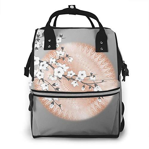 GXGZ Japonais Cherry Blossom Rose Gold Grey Sac à couches Sac à dos étanche Multi-Function Bébé Sacs à langer Maternity Nappy Bags Durable Grande capacité pour maman papa Voyage Baby Care