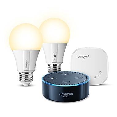 Echo Dot (2nd Generation) - Black + Element by Sengled 2 Bulb Kit