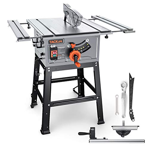 Table Saw, TACKLIFE, 15A 10-Inch, 4800RPM, 25.3''x 28.3'' Extension Table saw,Cutting Capacity : 2-4/5'' at 90° and 2'' at 45°, Jobsite Table Saw with Stand, Push Bar & Miter Gauge