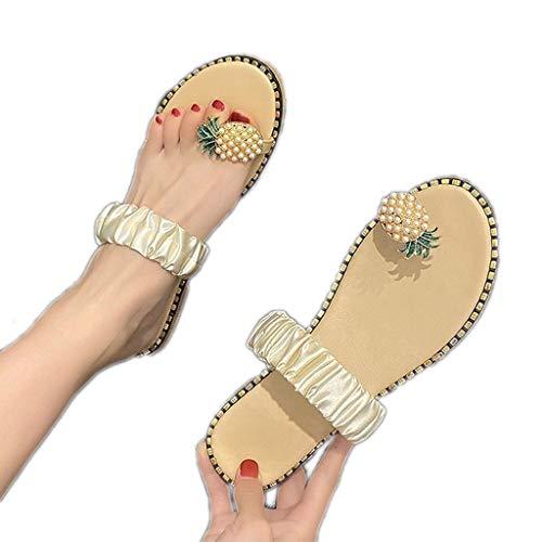 WggWy Sandalias Elásticas Grandes De Verano, Sandalias De Playa Informales con Estilo para Mujer Sandalias De Moda Cómodas Y Ligeras para Mujer,Beige,35