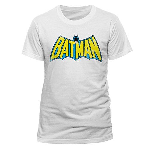 DC Batman - Retro Logo T-shirt Col ras du cou Manches courtes Homme - Blanc - Blanc - FR: XX-Large (Taille fabricant: XX-Large)