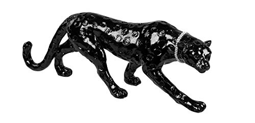 Lifestyle & More Moderne Skulptur Dekofigur Leopard aus Kunststein schwarz mit silbernem Halsband Länge 37 cm