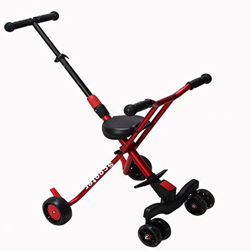 NAUY @ Triciclo Trolley para niños Ligero Plegable 6 Rondas Cochecito para bebés Sillas de Paseo (Color : Rojo)