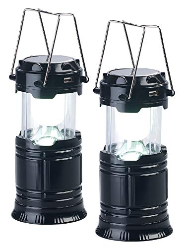 Semptec Urban Survival Technology Campinglampe: 2er Pack 3in1-Solar-LED-Camping-Laterne, Handlampe & USB-Notlader (Akku Leuchten)