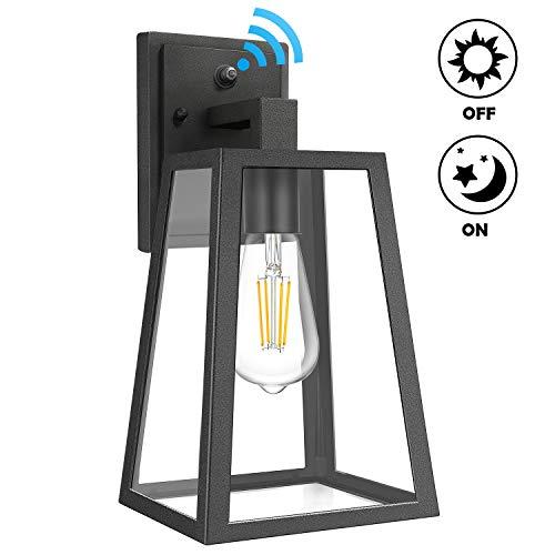Dusk to Dawn Sensor Wall Lantern Outdoor, Exterior Light Fixture Wall Mount Modern, 100% Anti-Rust Waterproof Aluminum, Clear Glass Light Sconce for Porch Doorway Garage, E26 Socket