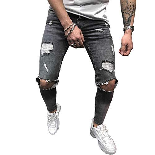 Jubaton Pantalones Vaqueros para Hombre, Moda Vintage, Pantalones Vaqueros con Agujeros Rasgados, Lavado de Mezclilla, Pantalones con Cremallera deshilachados, Pantalones básicos L