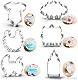 Baby Shower Cookie Cutter Set-6 Piece-3 Inches-Onesie, Bib, Bottle, Baby Carriage, Square and Oval Plaque Cookie Cutters Molds.