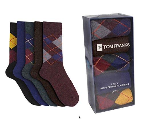 Tom Franks Paquet de 5 Coton Rich chaussettes à losanges US Men 39-45