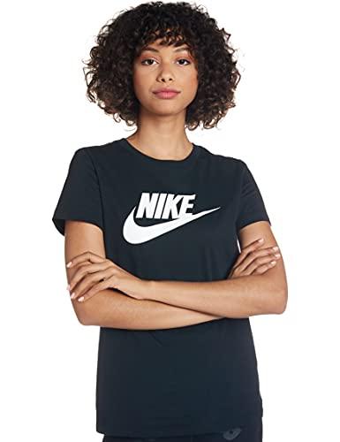 NIKE W NSW tee ESSNTL Icon Futura Camiseta de Manga Corta, Mujer, Negro (Black/White), S
