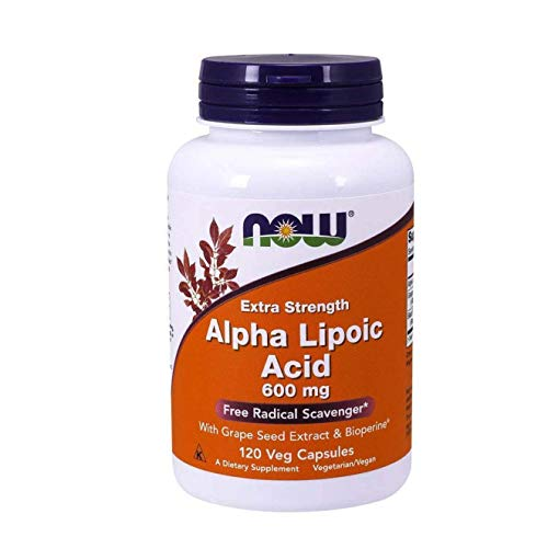 Now Supplements, Alpha Lipoic Acid 600 mg with Grape Seed Extract & Bioperine®, Extra Strength, 120 Veg Capsules