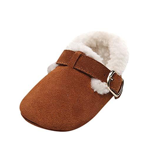 H.eternal(TM) - Botas de bebé para recién nacidos y niñas, zapatos de dibujos animados, zapatos de primera caminante, zapatos de cuna para invierno, color Marrón, talla 33 EU