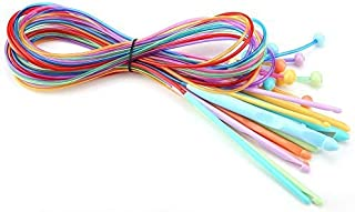 HEEPDD Crochet Tricot, 12 Pcs 1.2 M en Plastique ABS Afghan Tunisien Crochet Crochet Set avec Cable Carpet Weave Aiguilles...
