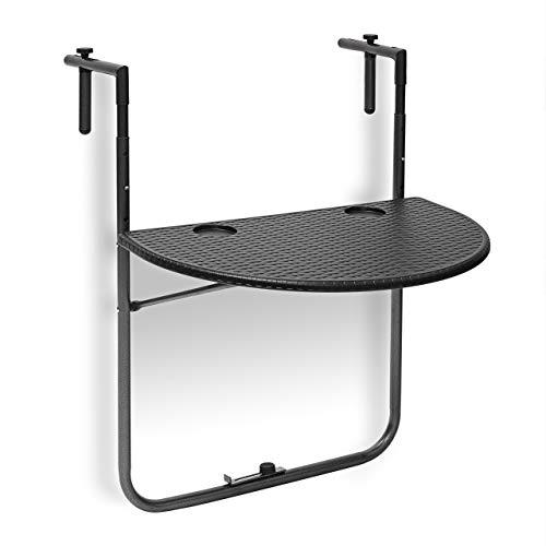 Relaxdays Table de balcon pliante pliable appoint table suspendue rabattable BASTIAN rotin hauteur réglable 63x60x84 cm, noir