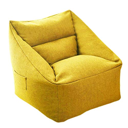 WHHK Adults Kids Comfy Lazy Bean Bag Sofa Chair Cover Without Filler Floor Seat Couch Pouf Bedroom (Color : Yellow)