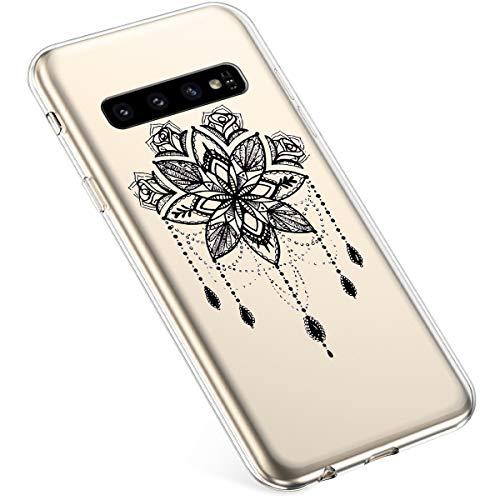 Uposao Kompatibel mit Samsung Galaxy S10 Plus Hülle Silikon Transparent Silikon Schutzhülle Durchsichtig Kratzfest TPU Bumper Crystal Clear Case Cover Tasche Handyhülle,Schwarz Mandala Blumen