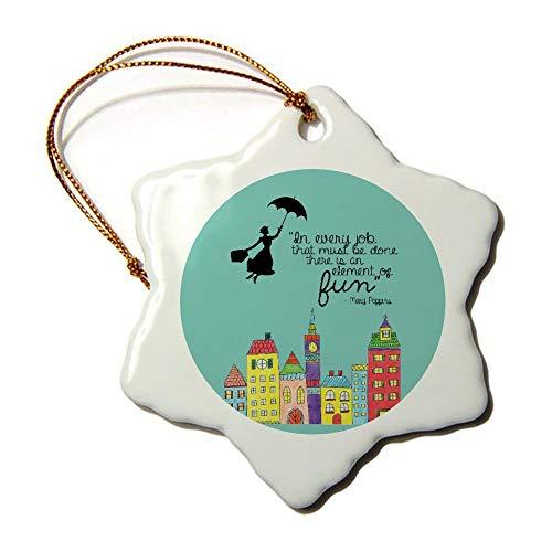 Mesllings Mary Poppins - Figura Decorativa de Copo de Nieve (Porcelana), diseño de Navidad