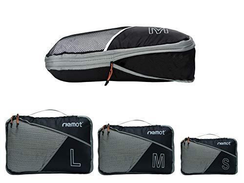 Packing Cubes de Compresión, Organizadores de Equipaje, 3 Set Organizador para Maletas, Bolsas para Ropa Zapato Sucia de Viaje, Accesorios para Viajes de Riemot Negro