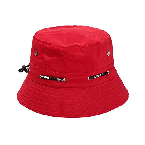 Summer Foldable Bucket Hat Unisex Women Outdoor Sunscreen Cotton Fishing Hunting Cap Men Basin Chapeau Sun Prevent Hats -red 1