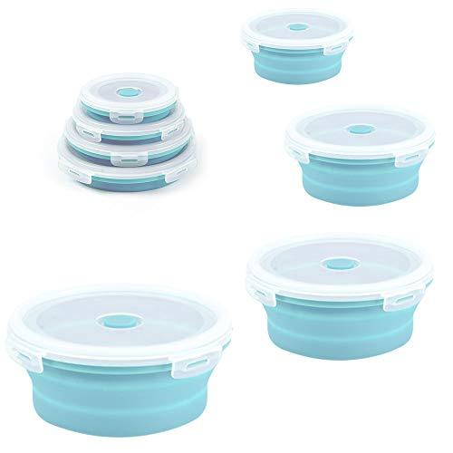 htovila Silikon-Lebensmittel-Aufbewahrungsboxen, rund, Bento-Boxen, faltbar, für Mikrowelle/Kühlschrank, tragbar, platzsparend, 4 Stück