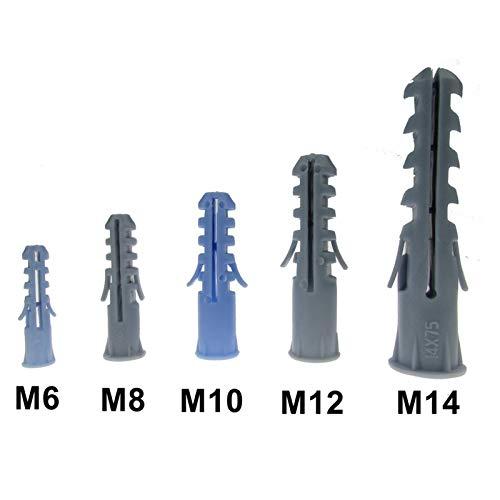 Halo Bolt 50 unids 25pcs M6 M8 M10 M12 M14 Enchufes de la expansión de plástico Anclaje de tornillo sin tornillo de acero Kit Tornillos de litmbrushing (Dimensions : M6 50pcs)