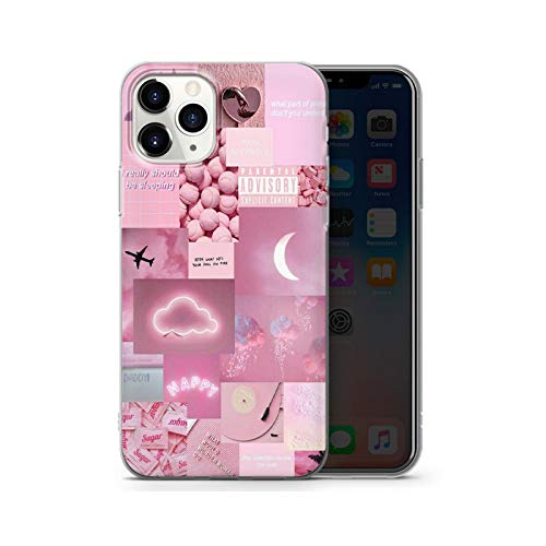 Funda protectora transparente para iPhone 11 12 Pro Max Se 2021 6S 7 8 Plus X X Max Xr lindo arte abstracto cubierta - rosa para iPhone 12 Pro