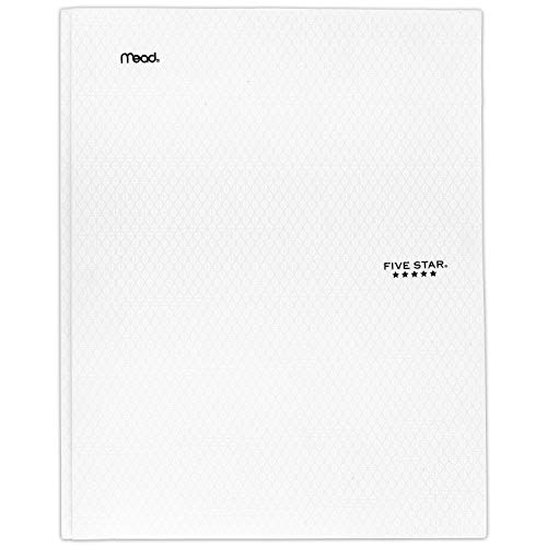 "Five Star 2-Pocket Folder, Stay-Put Folder, Plastic Colored Folders with Pockets & Prong Fasteners for 3-Ring Binders, Great for Home School Supplies & Home Office, 11-5/8"" x 9-5/16?, White (72494)"