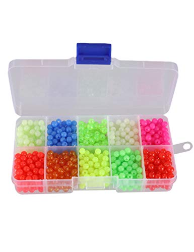 Facikono Fishing Beads Assorted Set, 1000pcs 5mm Round Float Glow...
