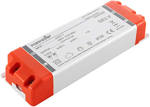 Poppstar LED Trafo Transformator 230V AC / 12V DC 2,5A für 0,3 bis 30 Watt LEDs