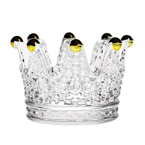 5 STKS Leuke Kristalglas Kandelaar Kroon Sigaret Asbak Kaarshouder voor Thuis Kerst Tafeldecoraties, Gouden kraal kroon