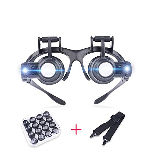 Magnifying Glass Head-Mounted 8 Lens with Light,Magnifying loupe Reading Aid Lens Suitable for The Elderly Low Vision for Macular Degeneration Seniors Reading Loupe