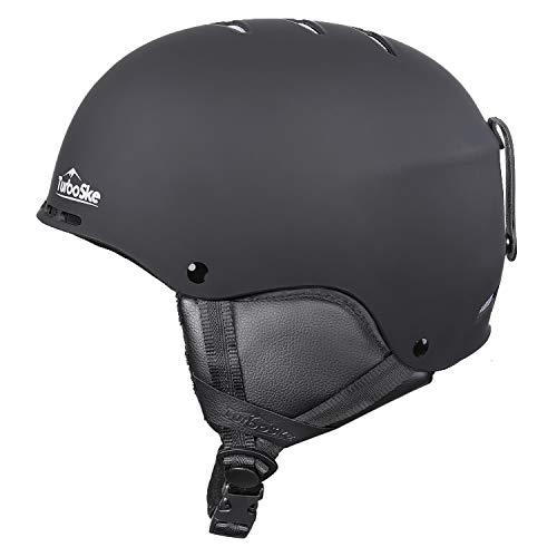 TurboSke Ski Helmet, Snow Helmet for Men, Women and Youth (L, Black)