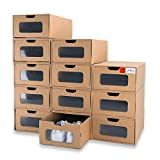 WallQmer - Caja para zapatos, 12 unidades, 33 x 22 x 14 cm, resistente al agua, cajas de almacenamiento, apilables, estables, con etiquetas de marcado, ventana transparente