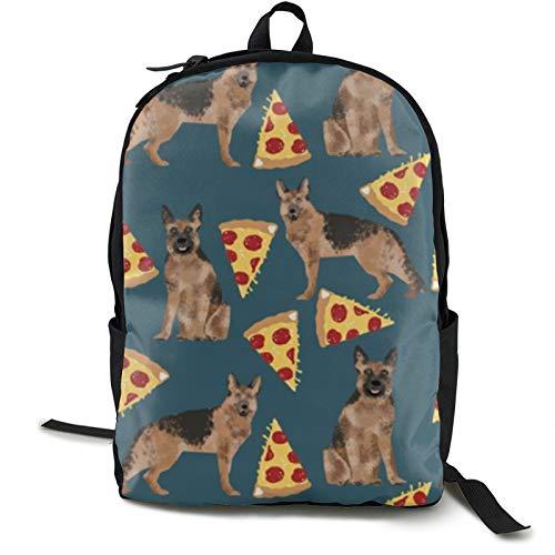 German Shepherd Pizza Kids Backpack Lightweight School Bookbag Fashion Travel Daypack