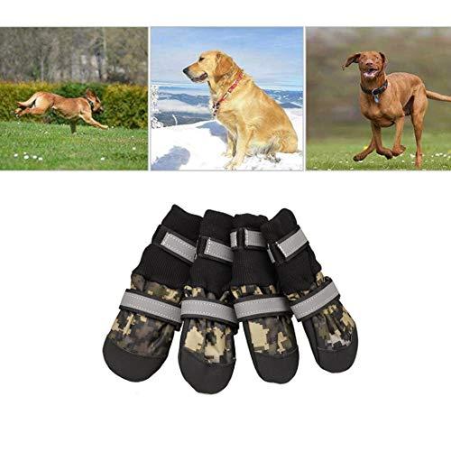 VICTORIE Hundeschuhe Pfotenschutz Regenschutz Hundestiefel wasserdicht für Haustier mittlere und große Hunde 4 Stücke Tarnfarbe L