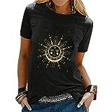 Eogrokerr Camiseta de manga corta para mujer con estampado de sol y luna, camiseta de verano con cuello redondo, estilo retro, Z06-black, XXL