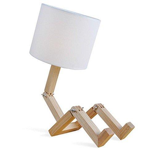 AOKARLIA Leuchte HöLzern Lampe Tischleuchte Nachttischlampe Laterne Lampenschirm Schreibtischlampe Moderne Einfache EuropäIsche Retro-Holz-Tischlampe- Led Leuchten, Warmes Licht E27