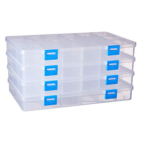 BENECREAT 4 PACK 18 Grids Plastic Storage Box Jewellery Box with Adjustable Dividers Earring Storage Containers Clear Plastic Bead Case(24x14.5x3cm, Compartment: 4x3.5x2.6cm)