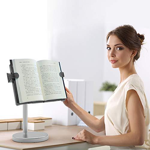 LSハンズフリーブックスタンド柔軟な折りたたみ式ドキュメントホルダーハードカバー、文庫本、クックブック、テキストブック用の調節可能な読書の高さと角度読書スタンド (Height Black Book)