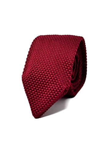 Hochwertige Gestrickte Dunkelrote Strickkrawatte für Herren - 100% Seide - Klassisch, Elegant und Modern - (Ideal für ein Geschenk, Männer zum Geburtstag, eine Hochzeit, bei der Arbeit...)