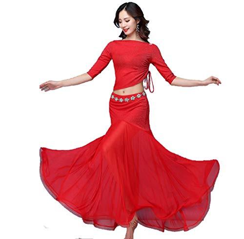 Jurken CocktailFemale Belly Dance Kostuum, Grote Swing Rok Performance Set Bollywood Dancer Volwassene Kostuum Rood Zwart