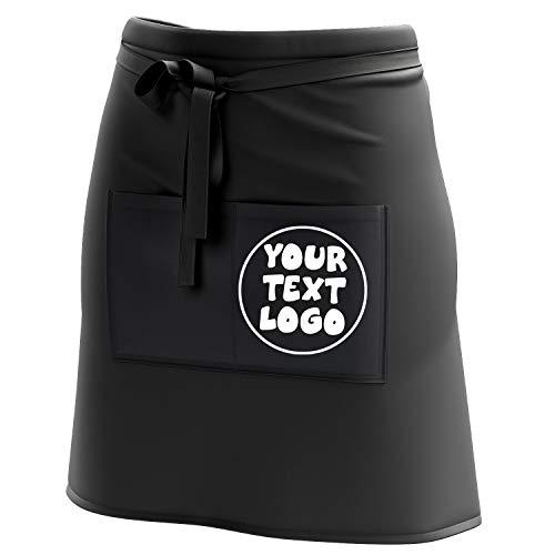 Ferocity Kurze Personalisierte Schürze Kellnerschürze Vorbinder mit Namen Firmenlogo personalisiert mit Taschen für Bistro Restaurant, Schwarz mit Logo [074]