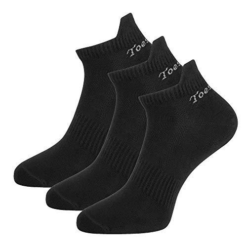 Toes&Feet Herren 3 Paar Schwarz Antibakterielles Geruchtilgende Anti Geruch Schnelltrocknende Laufsocken Knöchelsocken Sportsocken