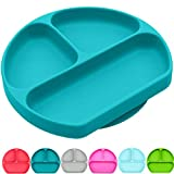 Silikong Suction Plate for Toddlers | BPA Free | Microwave, Dishwasher and Oven Safe | Fits Most Highchair Trays | Stay Put Divided Baby Feeding Bowls and Dishes for Kids and Infants (Turquoise)