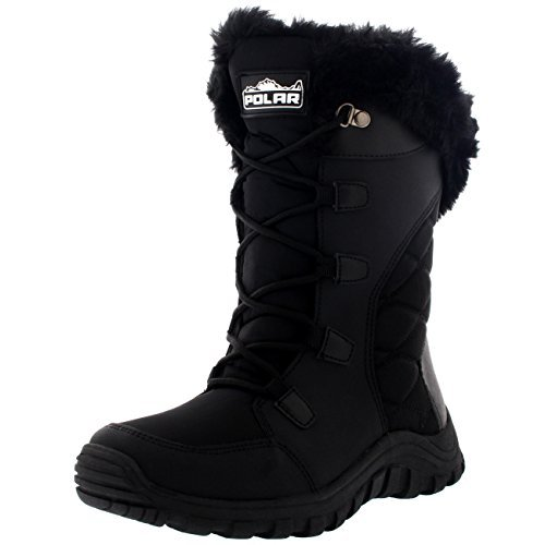 POLAR Womens Quilted Lace Up Black Outdoor Snow Rain Duck Boot - 9 - BLK40 YC0129