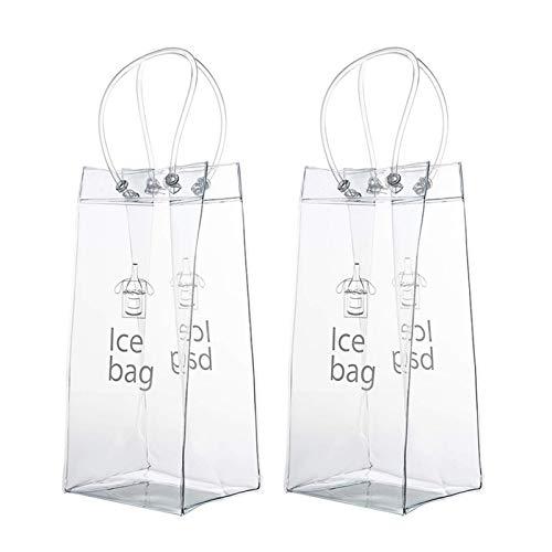 chinejaper 2 Stück PVC Champagner Wein Ice Bag Transparente Flaschenkühler Eistasche Kühltasche Mit Griff Für Champagner, Kaltes Bier, Weißwein Für Party, Outdoor
