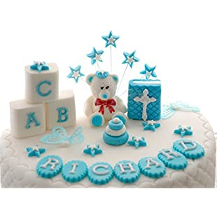 """Personalised Edible TEDDY BEAR Boy Christening Set Handmade Sugarpaste Cake Topper Decoration.PLEASE SEND YOUR PERSONALISATION INFORMATION BY SELECTING """"CONTACT SELLER'""""IN YOUR ORDERS SECTION OF AMAZON"""