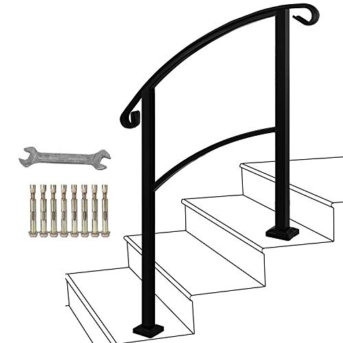 ATHOR 3-Step Handrail Fits 1 or 3 Steps Matte Black Stair Rail Wrought Iron Handrail with Installation Kit Hand Rails for Outdoor Steps