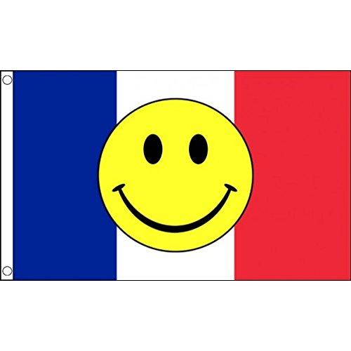 5 ft x 3 ft 150 x 90 cm-French Smiley Happy Face 100% Bannière drapeau Tissu en Polyester Idéal pour bar Club Festival Business School Décoration de Fête